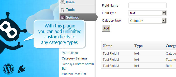 Dessky Category Custom Fields Plugin